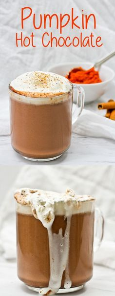 This easy and quick Pumpkin Spice Hot Chocolate is decadent, vegan-friendly, and perfect for fall! #Pumpkin #HotChocolate #Fall #Vegan