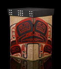 "Formline Revolution ©Corey Moraes 2008  Red cedar bentwood box, acrylic paint, opercula shells  27""x19""x19"""