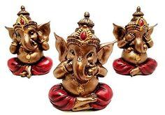 Set-of-Three-Ganesha-See-Hear-Speak-No-Evil-Decorative-Shelf-Sitter-Figurines