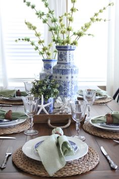 A Blue and Green Cottage Coastal Tablescape | Starfish Cottage