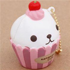 white Kapibarasan cupcake squishy cellphone charm 2