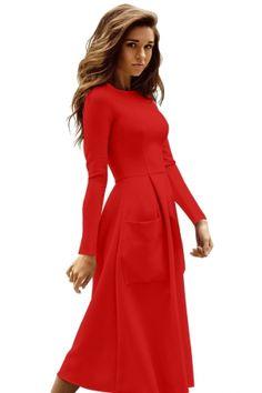 18e425a829e7 Red Bateau Collar Casual Big Pocket Skater Dress
