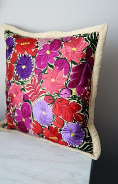 "Mexican Pillow Cover Oaxaca Handmade Floral Embroidered Decorative Pillow Case 19""x19"""