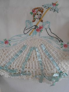 THE BEST Vintage Embroidered SOUTHERN BELLE Pillowcases ~ AQUA RIBBONS w Pink