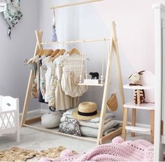 Clothing rack fixed base child size clothing rack nursery decor clothing hanger dress up kids Childrens room Wooden Clothes Rack, Clothes Rail, Diy Clothes, Clothes Hanger, Fashion Clothes, Style Fashion, Kids Fashion, Project Nursery, Nursery Decor