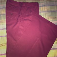 Pants NWOT Office friendly Womens pants. Bold burgundy stitch detail around pockets and waste band. 31.5 in inseam. Side pockets. Back pockets. Belt loops. Double clasp and zipper. Chadwicks Pants Trousers