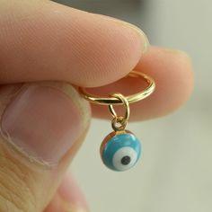 cartilage earring,evil eye cartilage earring 14k gold earring,tragus earring,roker earring