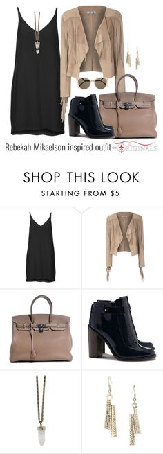 """Rebekah Mikaelson inspired outfit/TO"" by tvdsarahmichele ❤ liked on Polyvore featuring Topshop, Glamorous, Hermès, Tory Burch, Givenchy and Fendi"