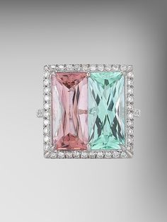 Green Tourmaline and Change of Color Tourmaline Ring by Paolo Costagli