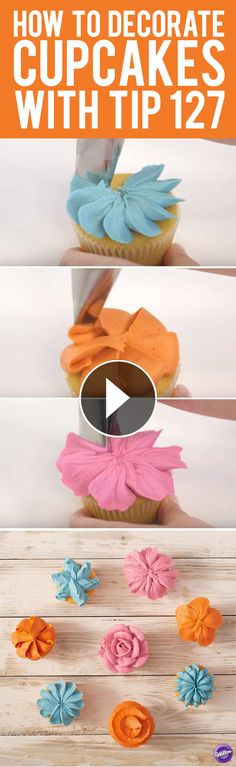 How to Decorate Cupcakes with Tip 127 – 8 ways! Here are 8 ways to decorate cupcakes with Wilton decorating tip Wilton Decorating Tips, Wilton Tips, Cake Decorating Techniques, Cake Decorating Tutorials, Cookie Decorating, Decorating Cakes, Frost Cupcakes, Cupcakes Flores, Easter Cupcakes