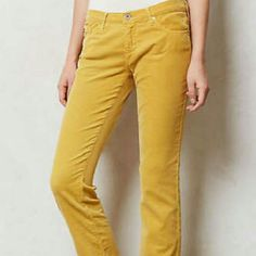 AG-Adriano-Goldschmied-Yellow-Stevie-Cords AG Adriano Goldschmied. The Stevie Slim Straight jeans in Yellow (LGD) colored wash.  Cotton/lycra. Made in United States.     ITEM CONDITION  Excellent. No flaws noted.    MEASUREMENTS, UNSTRETCHED*  measurementsin inches  Waist28.5  Rise7.75  Inseam31  Leg Opening12 AG Adriano Goldschmied Jeans Straight Leg