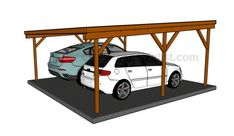 Flat roof double carport plans