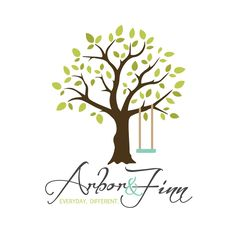 Arbor and Finn Logo Design by Freckles Creative Studio - swing and tree design, leaf pattern, outdoor design