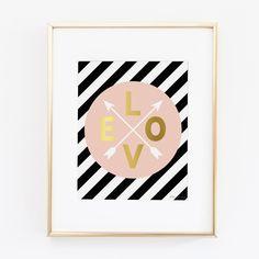 Pink Gold Love Arrows Art Print