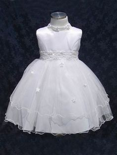 Infant flower girl dress with beaded lace