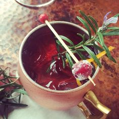 Frosted cherry & Rosemary sprig