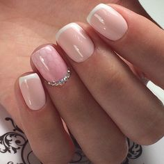 Accurate nails, Beautiful wedding nails, Delicate wedding nails, Exquisite nails, french manicure news 2016, Gentle shellac nails, Manicure by summer dress, Nails for wedding dress