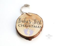 Wooden Baby Christmas Ornament HD-42 by SweetNCCollective on Etsy