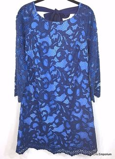 bdcd42e3c90b Lilly Pulitzer Aaliyah True Navy Romantic Corded Lace Dress Size 10 Two  Toned #LillyPulitzer #