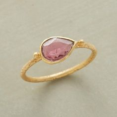 PINK TOURMALINE RING--A faceted pink tourmaline flirts in a handcrafted, matte-finished setting of 22kt goldplate. Whole sizes 5 to 8.