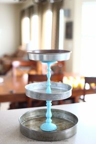 Cake tins and painted candlesticks. Such a cool idea. #food