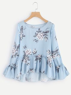 Shop Flower Print Trumpet Sleeve Frilled Smock Top online. SheIn offers Flower Print Trumpet Sleeve Frilled Smock Top & more to fit your fashionable needs.
