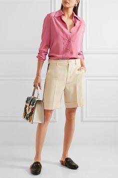 Gucci   Grosgrain-trimmed wool-blend crepe shorts   NET-A-PORTER.COM