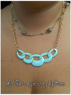 Blue Link Chain Necklace Go to:  facebook.com/hotflairs  etsy.com/hotflairs