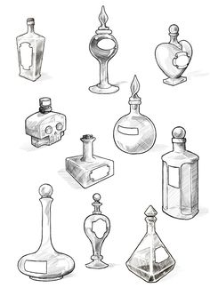 Filler art: Potion bottles by Maieth on deviantART