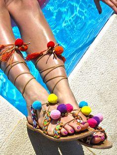 Pompons sandals, gladiator sandals, boho sandals, tieup sandals, laceup sandals, colorfull embellished with pompons, fringes, vegan sandals