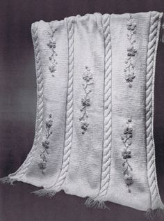Baby Blanket Vintage Knitting Pattern PDF- Cables and Flowers, c. 1961. $3.99, via Etsy.