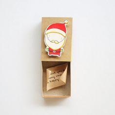 Niedliche Santa Weihnachtskarte / Urlaub Matchbox Karten /