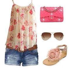 Cute summer clothes! I'd opt for a different bag. I  like the color of the shoes but not the flower.