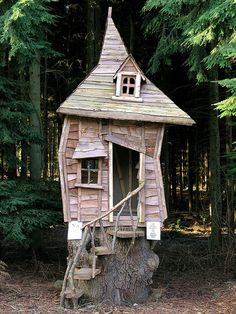 crooked tiny house.......or is this pinned wrong and it should be a treehouse because it is 3 feet off of the ground on a stump?