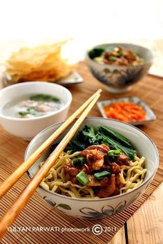Mie Ayam Jamur: Indonesia (Peranakan) noodles with chicken and mushroom, a characteristic Chinese-influenced dish.
