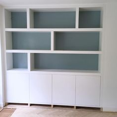 New project almost finished Living Room Units, Built In Shelves Living Room, Living Room Cabinets, Bookcase Shelves, Room Shelves, Shelving, Alcove Storage, Dining Room Storage, Family Dining Rooms