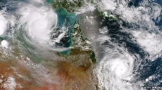 Cyclones Lam (top) and Marcia / BBC News - Australia storms: Cyclones hit Queensland and Northern Territory http://www.bbc.com/news/world-australia-31544694