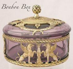 Antique French Gilded Ormolu Bronze & Cut Glass Bonbon/Jewelry Box