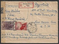 Russia 1942 censored R-cover Borovoe Kourort to New Haven