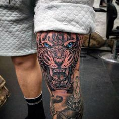Tiger With Blue Eyes Mens Knee Tattoos #AnimalTattoos