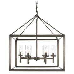 Featuring a beveled cage design, this sleek chandelier offers understated style for your kitchen or dining room.    Product: Chande...