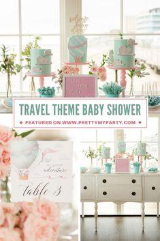 Travel Themed Baby Shower Celebration on Pretty My Party Baby Girl Shower Themes, Boho Baby Shower, Baby Shower Princess, Baby Shower Favors, Baby Shower Cakes, Baby Boy Shower, Baby Shower Decorations, Baby Shower Invitations, Indian Baby Showers