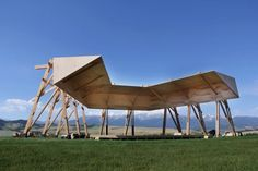 tippet rise's tiara is an intimate space for musical performances with dramatic views of montana's beartooth mountains. Chain Of Command, Temporary Structures, Sound Art, Vader Star Wars, Theatre Design, Winter Olympics, Outdoor Entertaining, Magazine Design, Installation Art