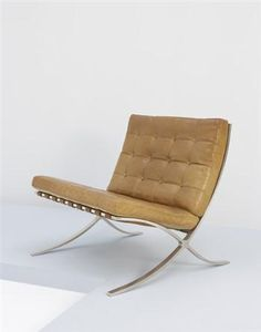 """Barcelona""chair, Manufactured by Berliner Metallgewerbe Joseph Müller, Germany. Designed by Ludwig Mies van der Rohe, c.1932, Literature: Ludwig Glaeser, Lugwig Mies van der Rohe: Furniture and Furniture Drawings from the Design Collection and the Mies van der Rohe Archive, The Museum of Modern Art, New York, 1977, pp46-49 / Derek E. Ostergard, ed., Bent Wood and Metal Furniture: 1850-1946, exh. cat., The American Federation of Arts, New York, 1987, pp292-293"
