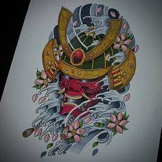 Finished this warrior today Japanese Tattoo Art, Japanese Sleeve Tattoos, Japanese Art, Tattoo Sketches, Tattoo Drawings, Body Art Tattoos, Kabuto Samurai, Samurai Mask Tattoo, Hannya Tattoo