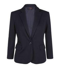 Navy Textured Jersey Blazer