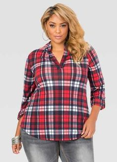 #FashionVault #ashley stewart #Women #Tops - Check this : Button Tab Hi-Lo Plaid Shirt for $34.5 usd