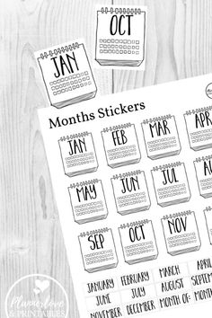 Month Stickers for Creative Bullet Journal or Planner Free printable month stickers for creative bullet journal layouts and annual planning and tracking! Free Printable Planner Stickers, Printable Scrapbook Paper, Calendar Stickers, Journal Stickers, Calendar Numbers, Free Stickers, Bullet Journal Month, Bullet Journal Layout, Bullet Journal Numbers