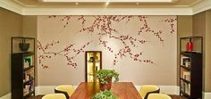 Yrmural Studio - - Japanese/Korean Hand Painted Wallpaper of Plum Blossom on champagne metallic wallpaper. Very beautiful for the dining room.