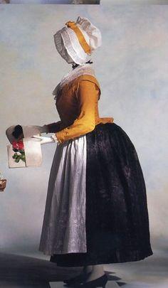 KCI Veste et jupe froncée - fichu et tablier en mousseline brodée bleu et blanc